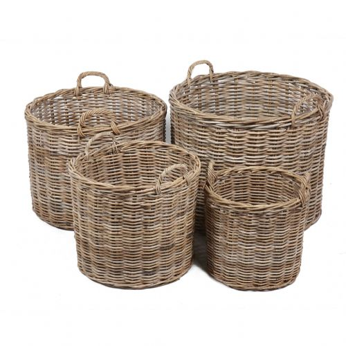 Set of 4 Round Baskets with Ear Handles in Kooboo Grey
